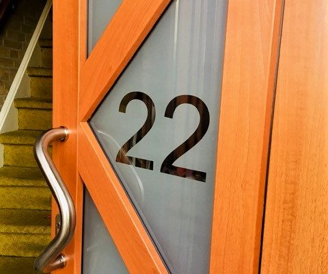 Voordeur detail glas